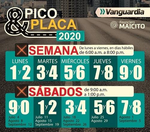 pico-y-placa-bucaramanga-tercer-trimestre-del-2020